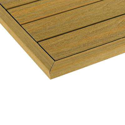 1/6 ft. x 13.95 in. Quick Deck Composite Deck Tile Outside Corner End Fascia in English Oak (2-Piece/box)