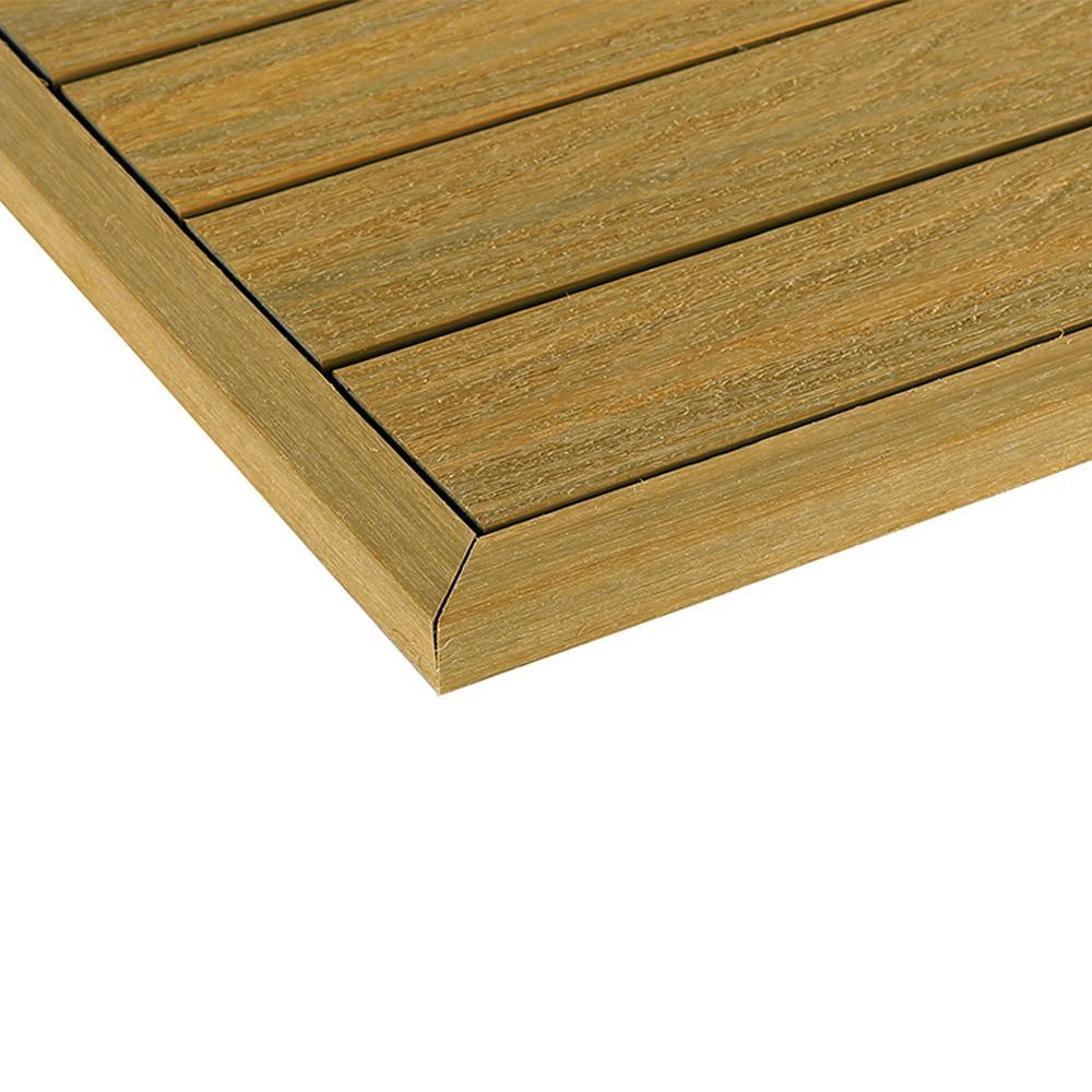 1/6 ft. x 13.95 in. Quick Deck Composite Deck Tile Outside Corner End Fascia in English Oak (2-Pieces/box)