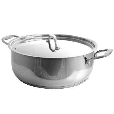 12 Qt. Stainless Steel Low Pot with Lid