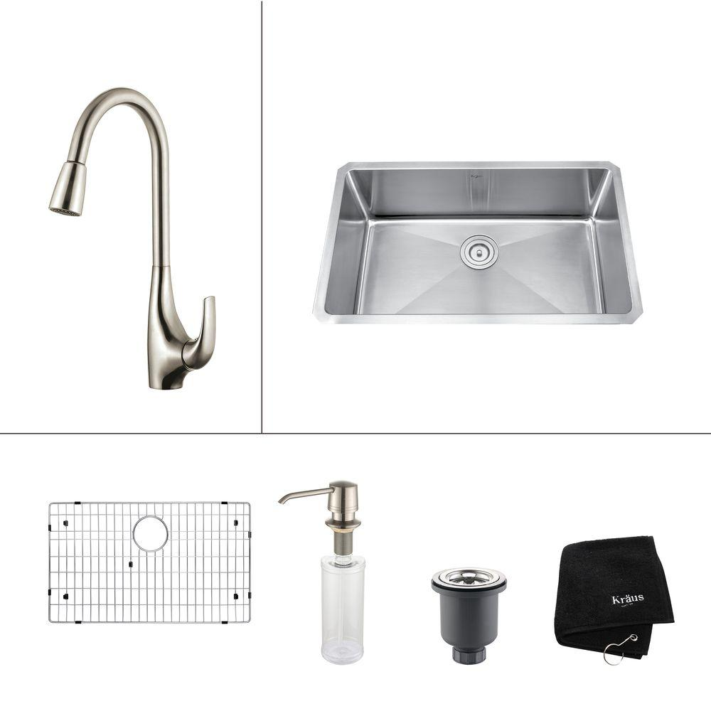 KRAUS All In One Undermount Stainless Steel 30 In. Single Bowl Kitchen Sink  With Faucet And Accessories In Stainless Steel KHU100 30 KPF1621 KSD30SS    The ...