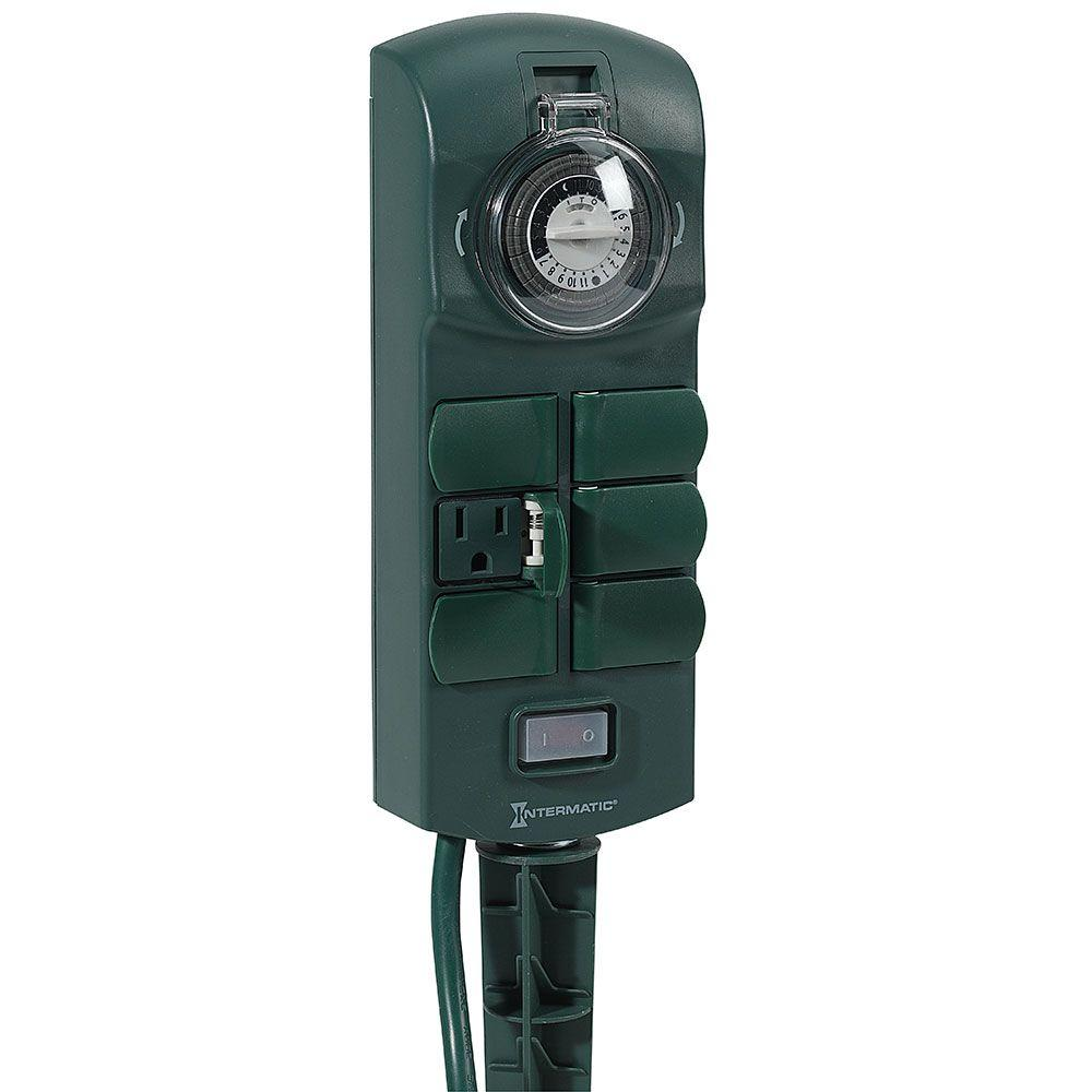 Intermatic 15 Amp Plug In 6 Outlet Outdoor Stake Timer   Green