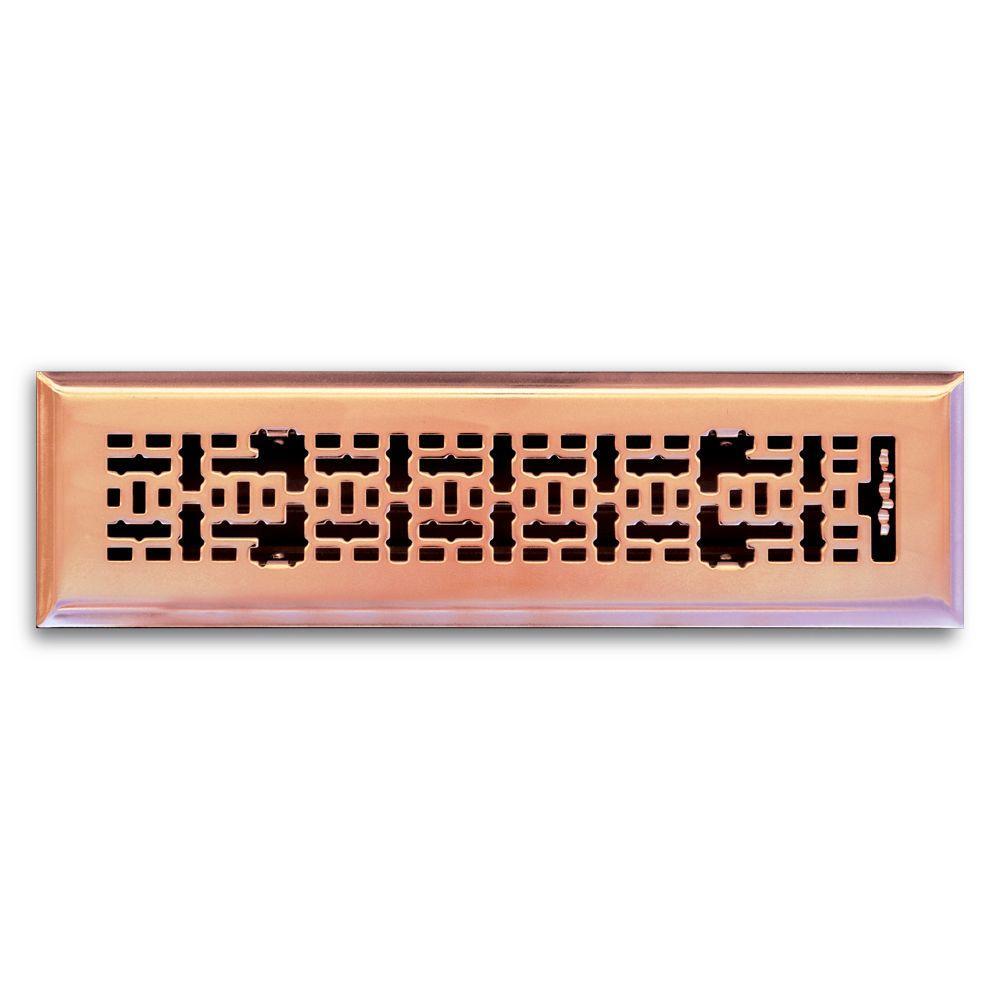 2 in. x 10 in. Modern Contempo Floor Diffuser, Copper