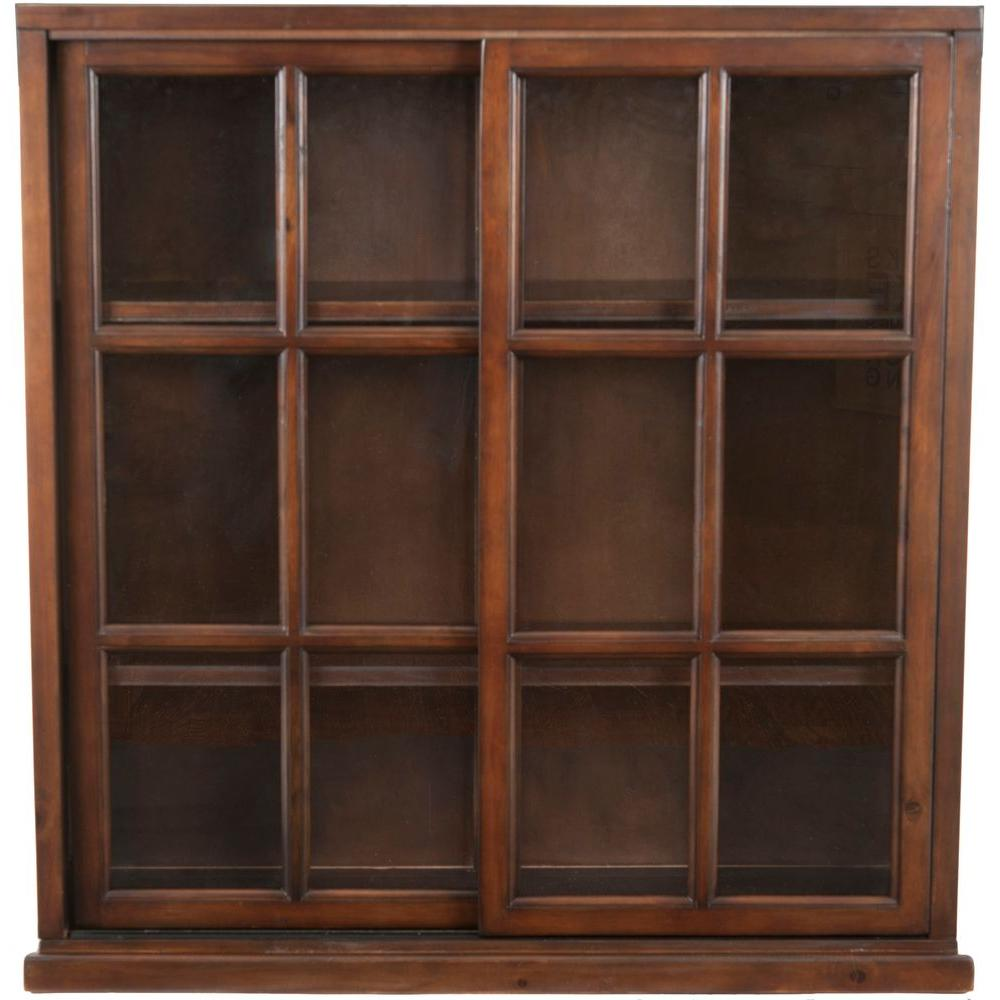 Safavieh greg walnut glass door bookcase amh6570a the home depot safavieh greg walnut glass door bookcase planetlyrics