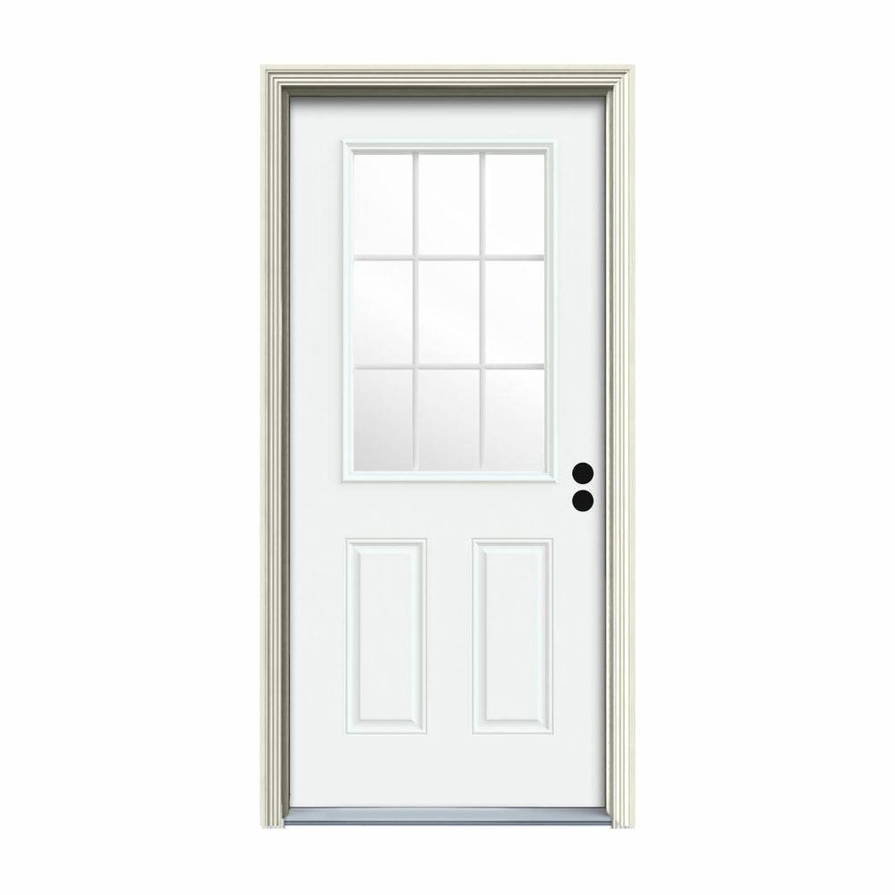 JELD-WEN 30 in. x 80 in. 9 Lite White Painted Steel Prehung Left-Hand Inswing Front Door w/Brickmould