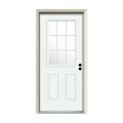 30 in. x 80 in. 9 Lite White Painted Steel Prehung Left-Hand Inswing Front Door w/Brickmould
