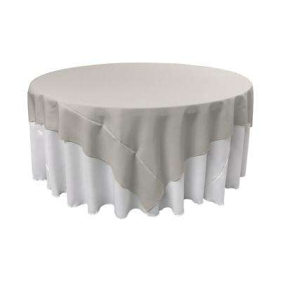 72 in. x 72 in. Light Gray Polyester Poplin Square Tablecloth