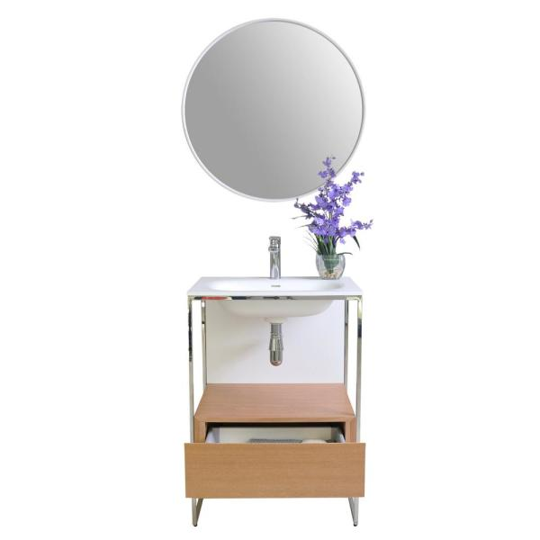 Tory 24 in. W x 18 in. D Vanity in Natural Walnut with Solid Surface Vanity Top in White with White Basin and Mirror