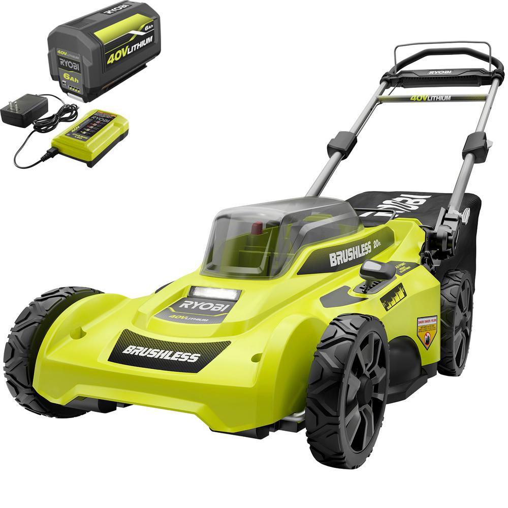 RYOBI 20 in. 40-Volt Brushless Lithium-Ion Cordless Battery Walk Behind Push Lawn Mower 6.0 Ah Battery/Charger Included