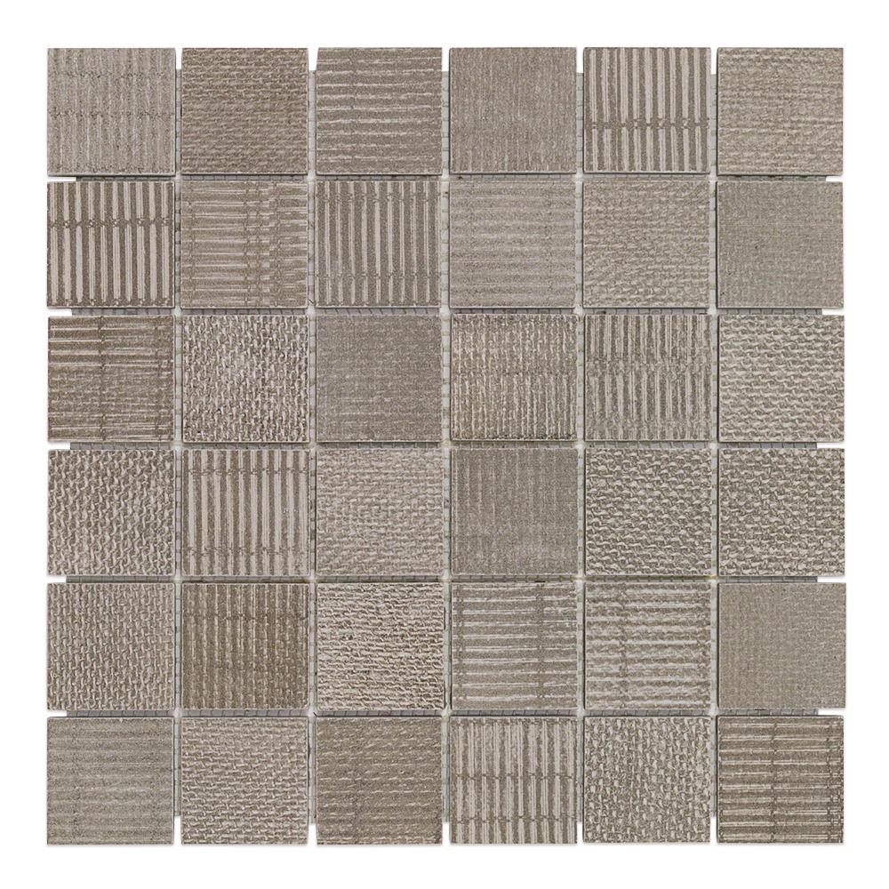 Ivy Hill Tile Lungo Teak 11.81 in. x 11.81 in. 10mm Matte porcelain Floor and Wall Mosaic Tile (0.97 sq. ft. per Sheet)