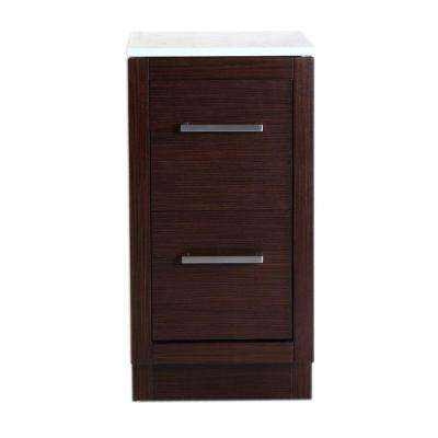 Brisbane 15.75 in. W x 18.3 in. D x 31 in. H Side Cabinet Vanity in Wenge with Marble Vanity Top in White