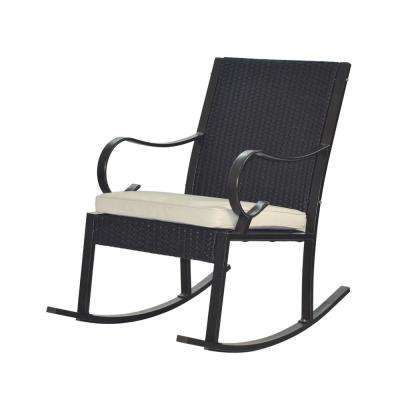 Hank Dark Brown Wicker Outdoor Rocking Chair with Cream Cushion