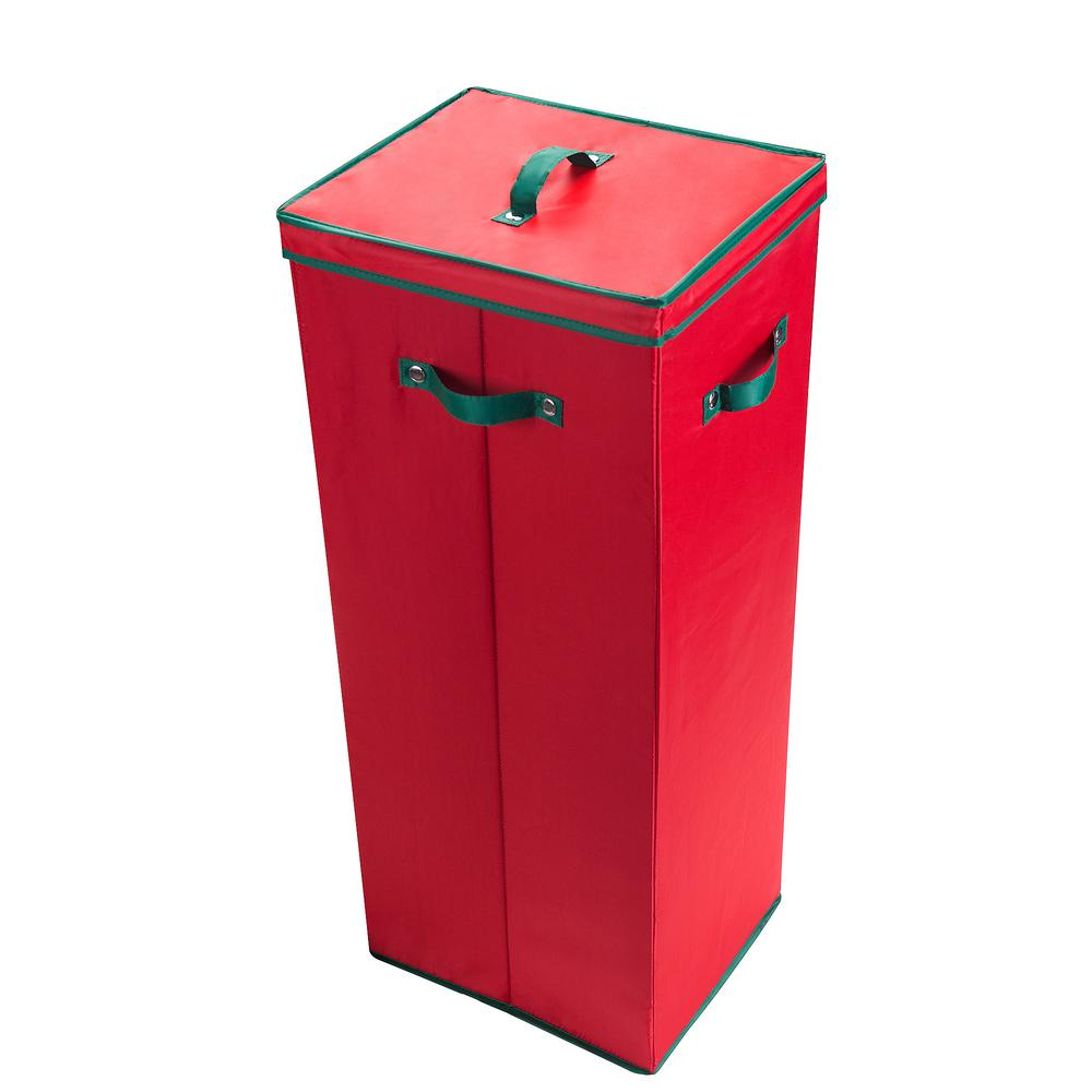red wrapping paper storage box