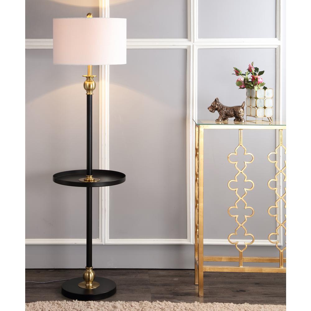 Evans 61 in. H Black/Brass Metal End Table Floor Lamp