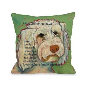 Golden Doodle Green Graphic Polyester 16 in. x 16 in. Throw Pillow