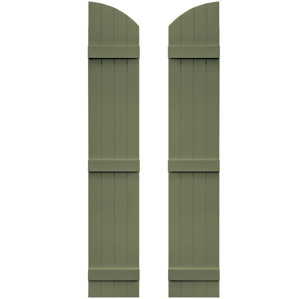Board N Batten Shutters Pair 4 Boards Joined With Arch Top 282 Colonial Green