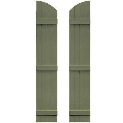 14 in. x 81 in. Board-N-Batten Shutters Pair, 4 Boards Joined with Arch Top #282 Colonial Green