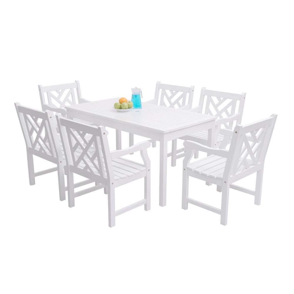 Vifah Bradley Acacia White 7 Piece Patio Dining Set With 32 In. W Table