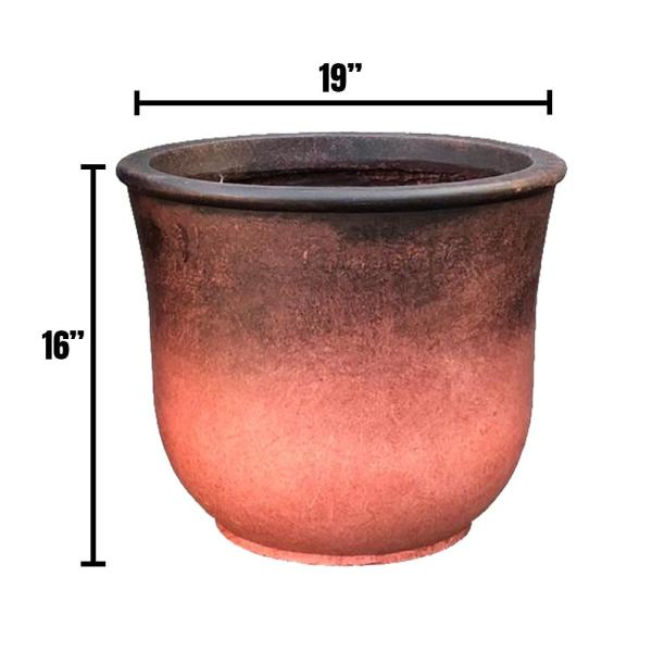 18.9 in. x 15.75 in. H Red Lightweight Concrete Vibrant Ombre Tulip Large Planter