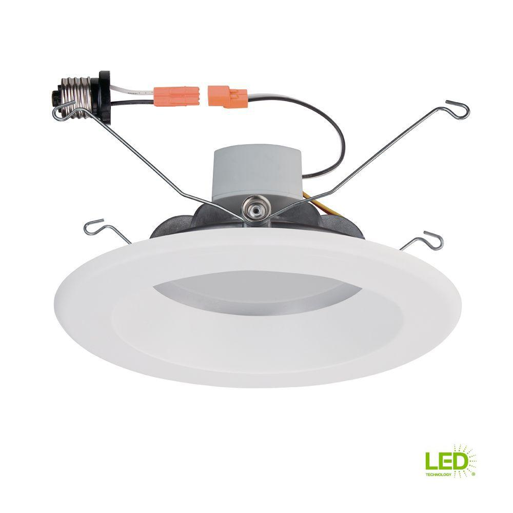 Led Light Fixtures Commercial: Commercial Electric 5 In. White LED Recessed Trim