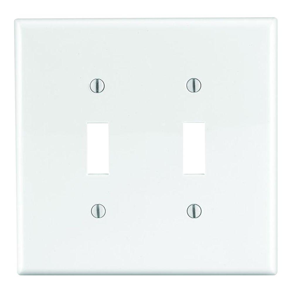 Leviton 2-Gang Midway Toggle Nylon Wall Plate, White