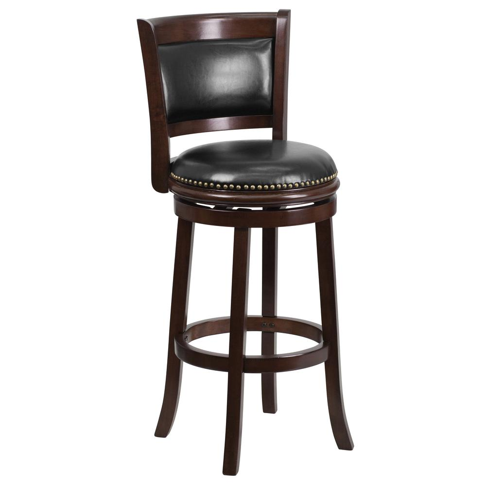 FLASH 30 in. Brown Cushioned Bar Stool, Black/Cappuccino