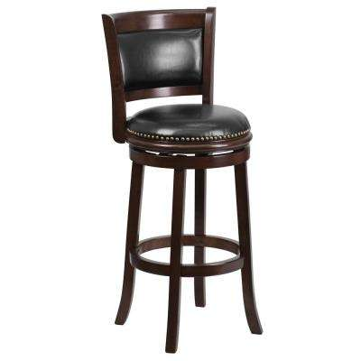 29 in. High Cappuccino Wood Barstool with Panel Back and Black Leather Swivel Seat