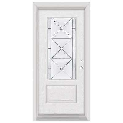 33.375 in. x 83 in. Bellochio Left-Hand 3/4 Lite Patina Finished Fiberglass Oak Woodgrain Prehung Front Door Brickmould