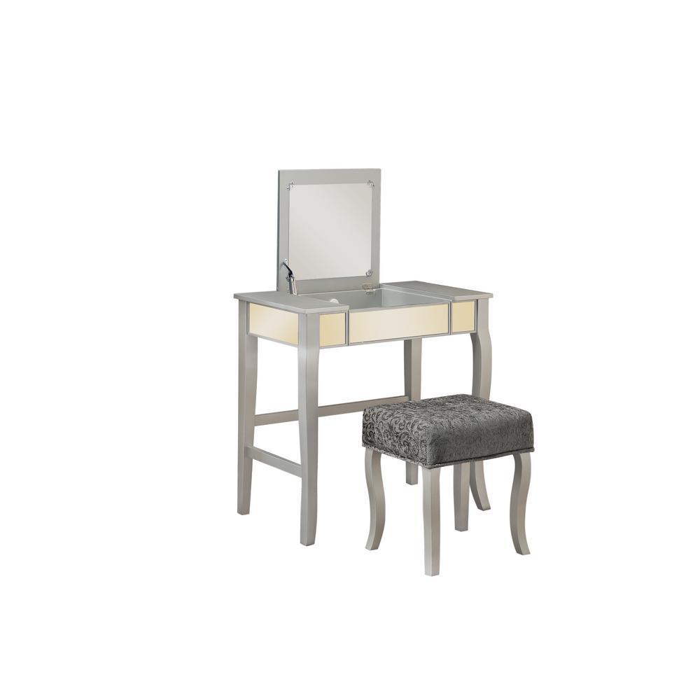 Linon Home Decor Harper 2-Piece Silver Vanity Set