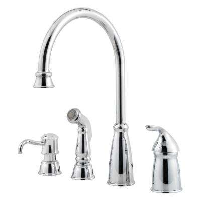 Avalon Single-Handle High-Arc Standard Kitchen Faucet with Side Sprayer in Polished Chrome