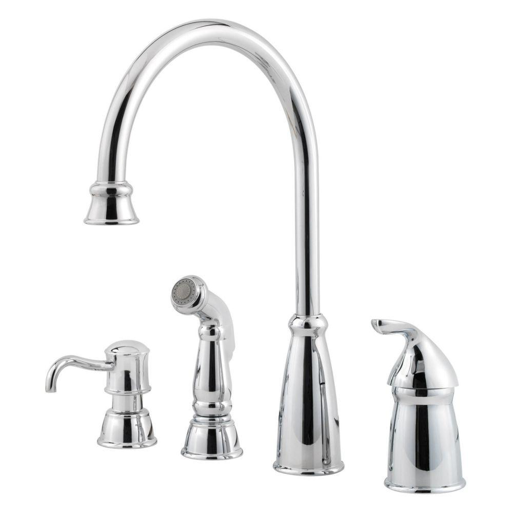 pfister avalon single handle high arc standard kitchen faucet with side sprayer in polished