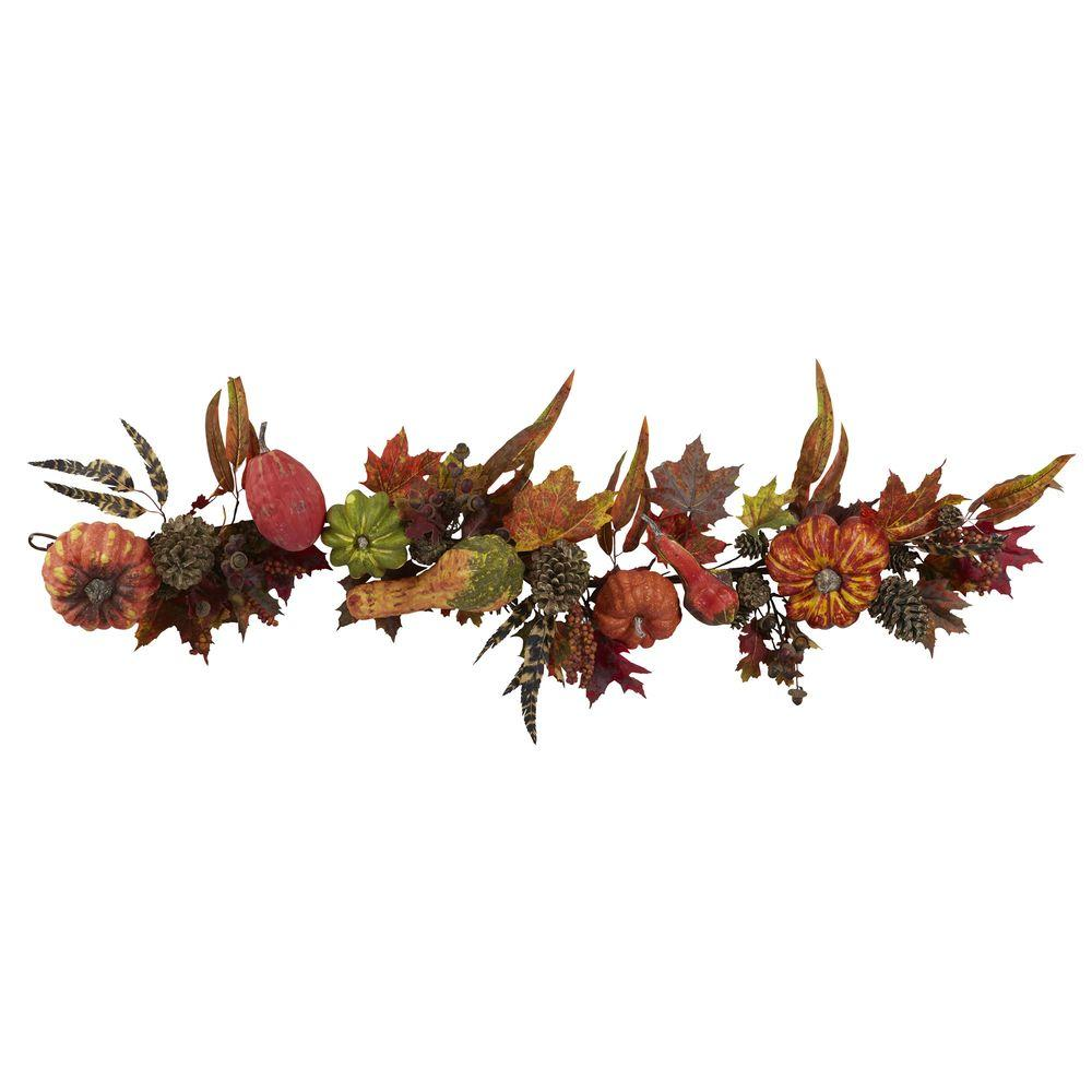 Nearly Natural 54 in. Pumpkin and Gourd Garland