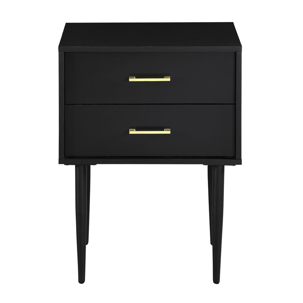 Walker Edison Furniture Company 20 In Black Olivia 2 Drawer Side Table