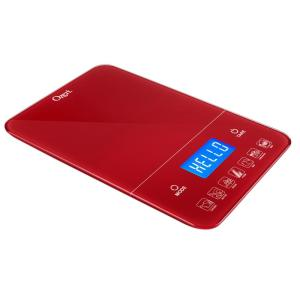 Ozeri Touch III 22 lbs. (10 kg) Digital Kitchen Scale with Calorie Counter, in Red Tempered Glass by Ozeri