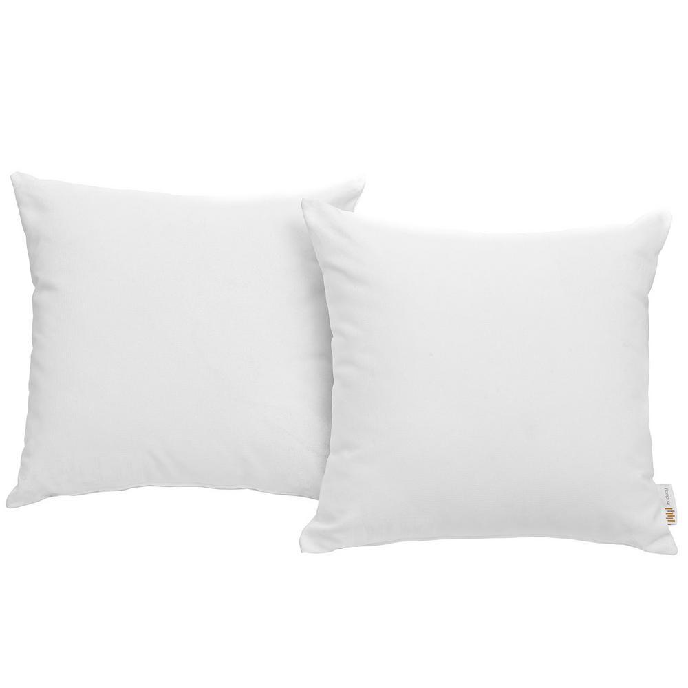 Convene Patio Square Outdoor Throw Pillow Set in White (2-Piece)