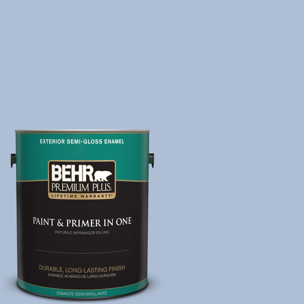 1-gal. #580E-3 Sweet Blue Semi-Gloss Enamel Exterior Paint