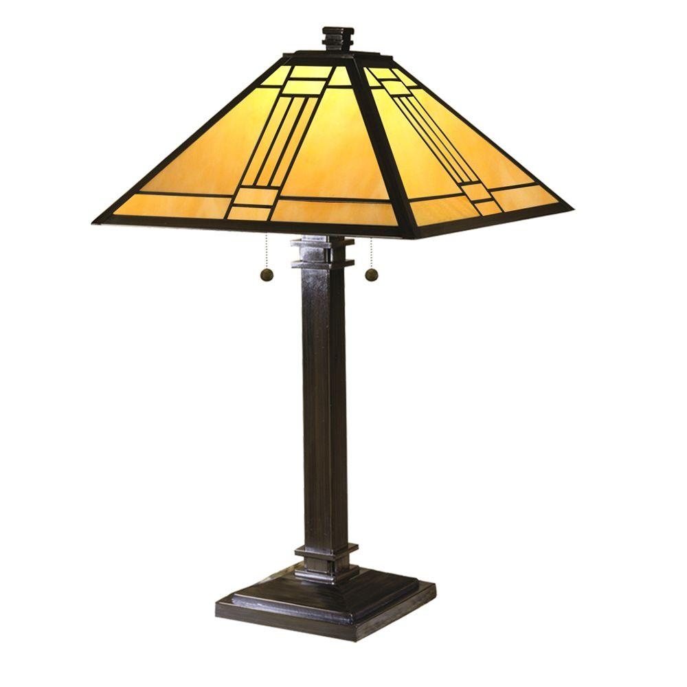 Dale Tiffany 26.5 in. Noir Mission Mica Bronze Table Lamp