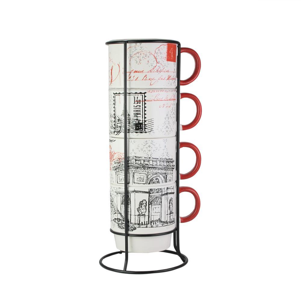 14 oz. Multi-Colored Ceramic Paris Coffee Mugs with Metal Rack (Set of 4)