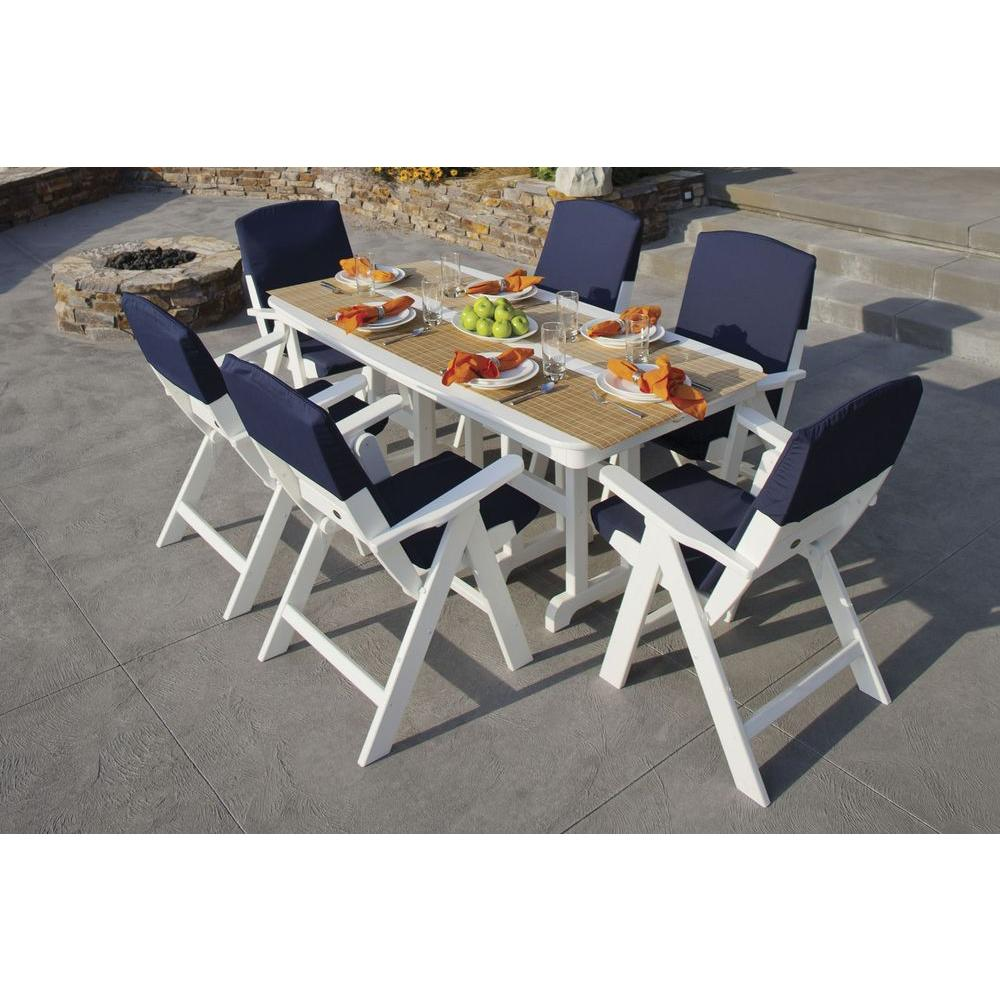 POLYWOOD Nautical White/Navy 7-Piece Patio Dining Set with Slip Cushions