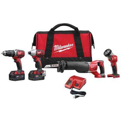 M18 18-Volt Lithium-Ion Cordless Combo Tool Kit (4-Tool) with (2) 3.0Ah Batteries, (1) Charger, (1) Tool Bag