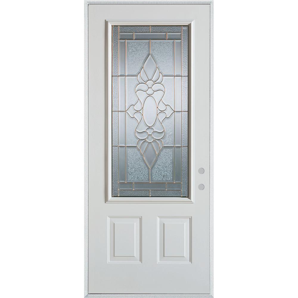 Stanley Doors 32 in. x 80 in. Traditional Brass 3/4 Lite 2-Panel Painted White Left-Hand Inswing Steel Prehung Front Door