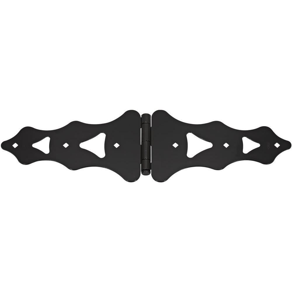 10 in. Black Ornamental Strap Hinge