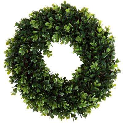 14 in. Round Boxwood Wreath