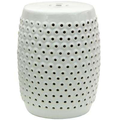 Oriental Furniture White Porcelain Ottoman