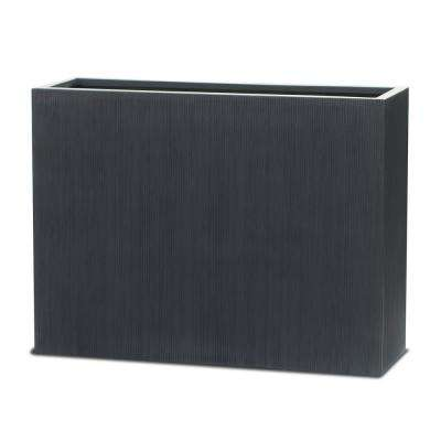 29.5 in. x 13.8 in. x 39.4 in. Matte Black FiberStone Vertical Line Rectangular Planter