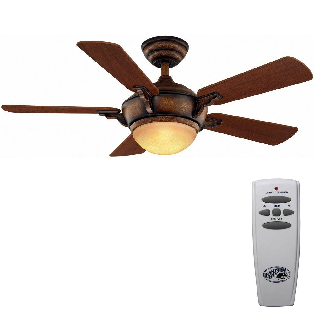 Hampton Bay Midili 44 in. Indoor Gilded Espresso Ceiling Fan with Light Kit and Remote Control
