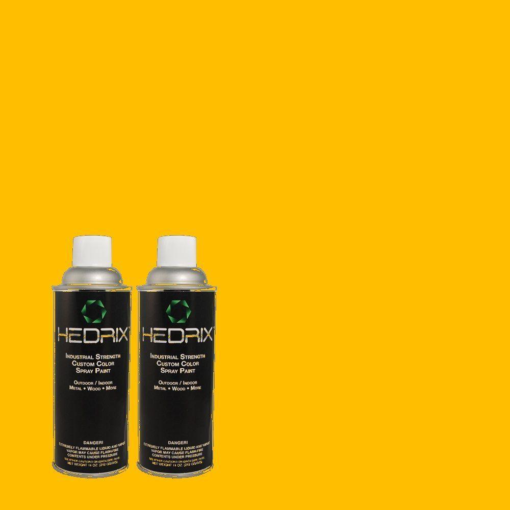 Hedrix 11 oz. Match of 340B-7 Empire Yellow Flat Custom Spray Paint (2-Pack)