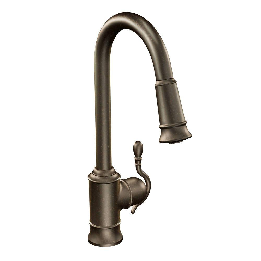 MOEN Woodmere Single-Handle Pull-Down Sprayer Kitchen Faucet with ...