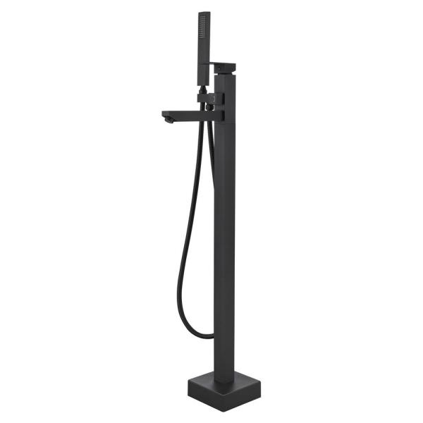 Seven Falls 8010 Single-Handle Floor-Mount Roman Tub Faucet with Hand Shower in Matte Black