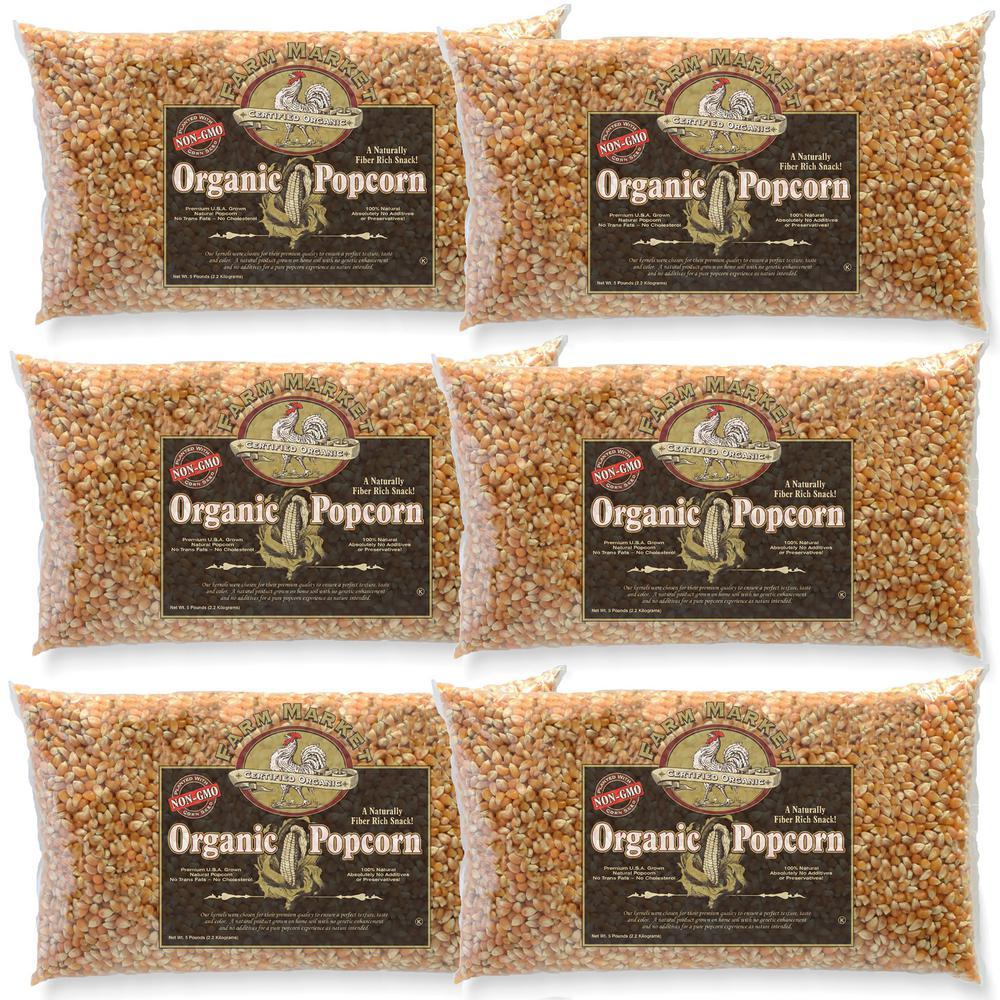 5 lb. All-Natural Organic Yellow Gourmet Popcorn (6-Pack)