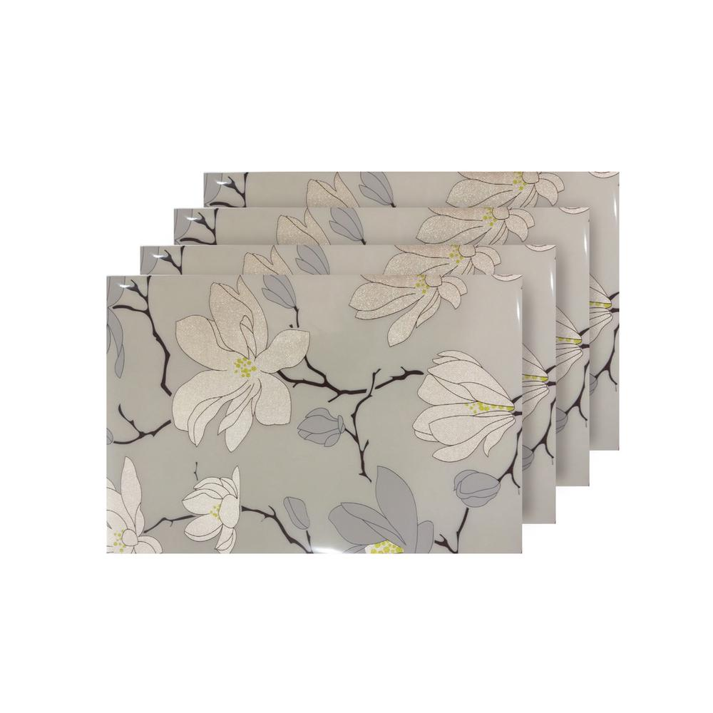 Magnolia Beige Reversible Metallic Printed Placemats (Set of 4)